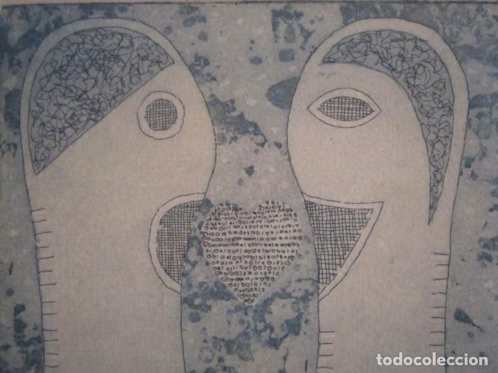 Arte: ¡¡OFERTA!! Amor binario - Grabado de GAP (Guillermo Antón Pardo) - Color Azul 10x8 cm - Foto 4 - 146284586
