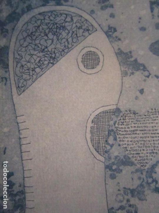 Arte: ¡¡OFERTA!! Amor binario - Grabado de GAP (Guillermo Antón Pardo) - Color Azul 10x8 cm - Foto 5 - 146284586