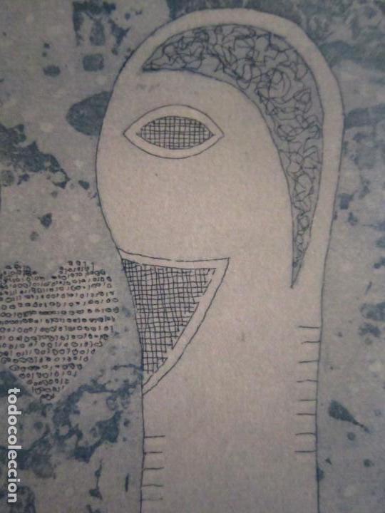Arte: ¡¡OFERTA!! Amor binario - Grabado de GAP (Guillermo Antón Pardo) - Color Azul 10x8 cm - Foto 6 - 146284586