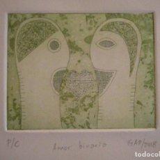 Arte: ¡¡OFERTA!! AMOR BINARIO - GRABADO DE GAP (GUILLERMO ANTÓN PARDO) - COLOR VERDE 10X8 CM. Lote 146285206