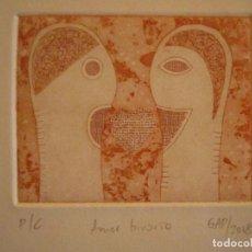 Arte: ¡¡OFERTA!! AMOR BINARIO - GRABADO DE GAP (GUILLERMO ANTÓN PARDO) - COLOR ROJO TEJA 10X8 CM. Lote 146285618