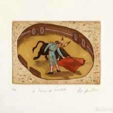Arte: JORGE PERELLÓN. GRABADO ORIGINAL. TOREO DE MULETA. SIGNADO PA E ILUMINADO Y FIRMADO A MANO. 1993. Lote 146932082