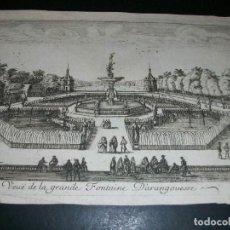 Arte: ARANJUEZ MADRID VISTA GENERAL DE LA GRAN FUENTE GRABADO SIGLO XVII-XVIII. Lote 146974182