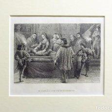 Arte: 1863 - JUANA LA LOCA Y FELIPE EL HERMOSO - ESPAÑA - GRABADO CON PASSEPARTOUT DOBLE . Lote 147073918