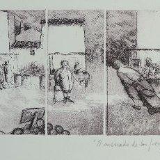 Arte: GRABADO 2/50 TITULADO EL MERCADO DE LOS JUEVES FIRMA ILEGIBLE A LÁPIZ 1989. Lote 147089606