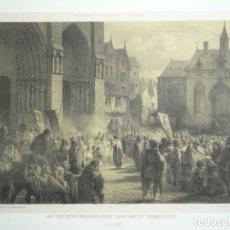 Arte: PROCESIÓN DELANTE DE LA CATEDRAL DE NOTRE DAME DE PARIS (FRANCIA), HACIA 1865. CHARPENTIER. Lote 147099286