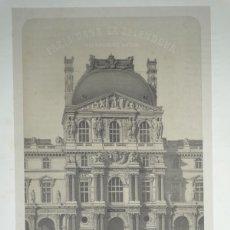 Arte: GRAN VISTA DE LA PLAZA DEL MUSEO DEL LOUVRE (PARÍS, FRANCIA), HACIA 1865. BENOIST/CHARPENTIER. Lote 147101405