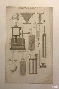 Grabado Hidrostática y hidrodinámica. Francia. Siglo XVII. 14x23 cm