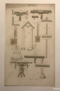 Grabado Hidrostática. Francia. Siglo XVII. 14x23 cm