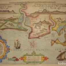 Arte: MAGNÍFICO GRABADO DE CÁDIZ Y HUELVA. S.XVI. LUCAS IOES DELINEATIO. RARO.. Lote 147223266