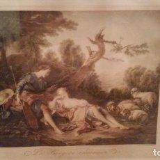 Arte: NICOLAS LANCRET. LA BEREGERÉ ENDORMIE. GRABADO. FRANZ HANFSTAENGL.. Lote 146209674