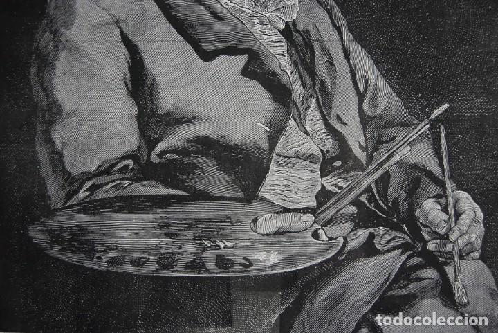Arte: RETRATO DE GOYA. GRABADO ORIGINAL. COPIA EN GRABADO DEL RETRATO DE VICENTE LÓPEZ - Foto 3 - 147575114