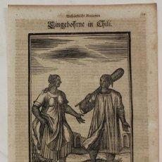 Arte: PAREJA DE NATIVOS DE CHILE (AMÉRICA DEL SUR), 1688. HAPPEL. Lote 147681884