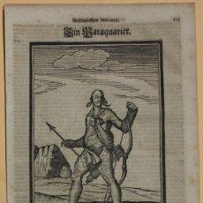 Arte: VISTA DE UN NATIVO ARMADO DE PARAGUAY (AMÉRICA DEL SUR), 1688. HAPPEL. Lote 147682202