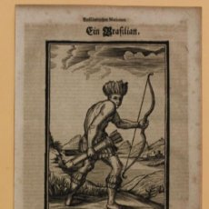 Arte: VISTA DE UN NATIVO ARMADO DEL AMAZONAS (BRASIL, AMÉRICA DEL SUR), 1688. HAPPEL. Lote 147682648