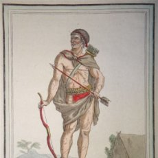 Arte: INDÍGENA ARMADO DE LA TIERRA DE FUEGO (ARGENTINA-CHILE), CA. 1797. SAINT-SAUVEUR/ J. LAROQUE. Lote 147743326