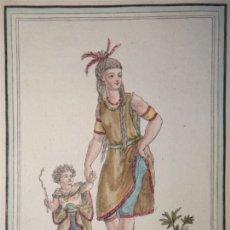 Arte: MUJER Y NIÑO INDÍGENAS DE LA LA PATAGONIA (ARGENTINA-CHILE), CA. 1797. SAINT-SAUVEUR/ J. LAROQUE. Lote 147747861