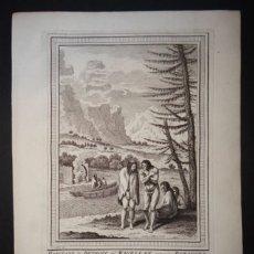 Arte: CHOZA, EMBARCACIONES E INDÍGENAS DE LA PATAGONIA (CHILE-ARGENTINA), CA. 1754. PREVOST/SCHEY. Lote 147756792