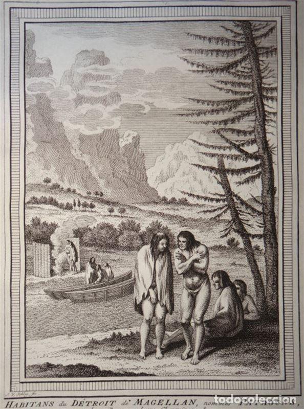 Arte: Choza, embarcaciones e indígenas de la Patagonia (Chile-Argentina), ca. 1754. Prevost/Schey - Foto 2 - 147756792