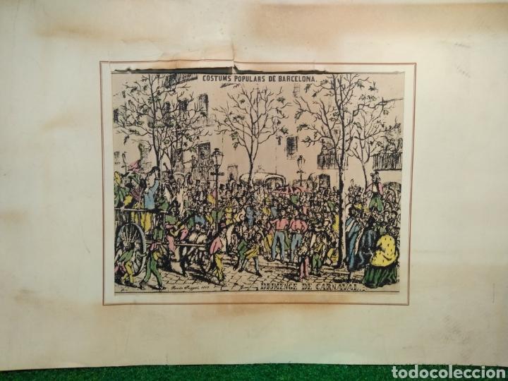 Arte: LOTE DE 9 GRABADOS BARCELONA SIGLO XIX .ALGUNOS FIRMADOS Y COLOREADOS A MANO - Foto 2 - 135713459