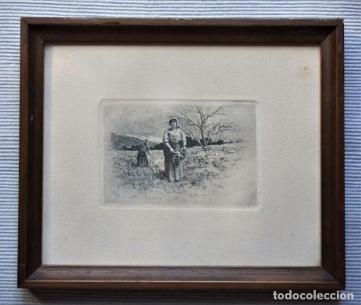 ANTIGUO GRABADO DE CAMPESINAS DE TOMÁS CAMPUZANO (1857-1934) (Arte - Grabados - Contemporáneos siglo XX)