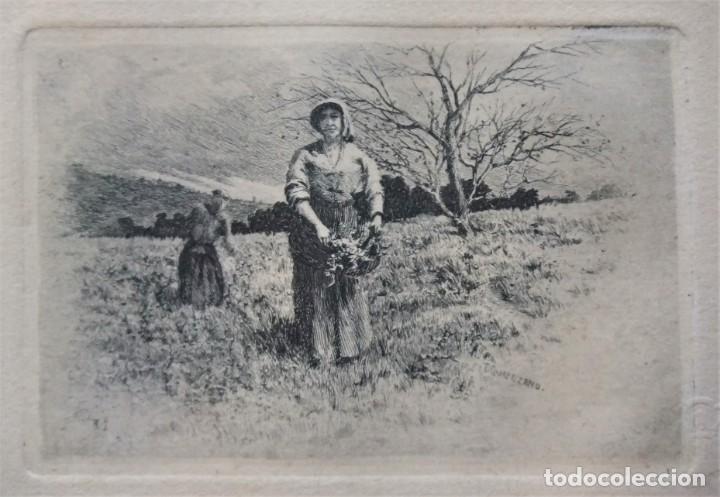 Arte: ANTIGUO GRABADO DE CAMPESINAS DE TOMÁS CAMPUZANO (1857-1934) - Foto 2 - 147826702