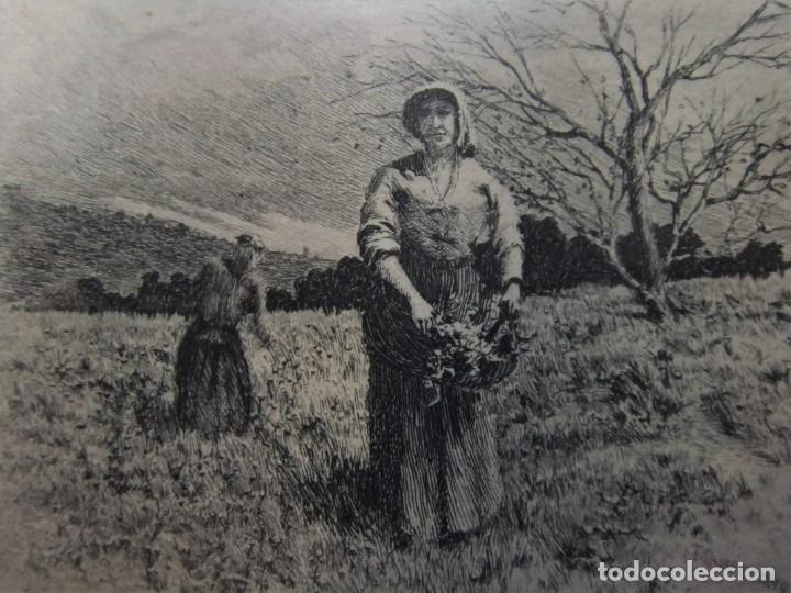 Arte: ANTIGUO GRABADO DE CAMPESINAS DE TOMÁS CAMPUZANO (1857-1934) - Foto 5 - 147826702