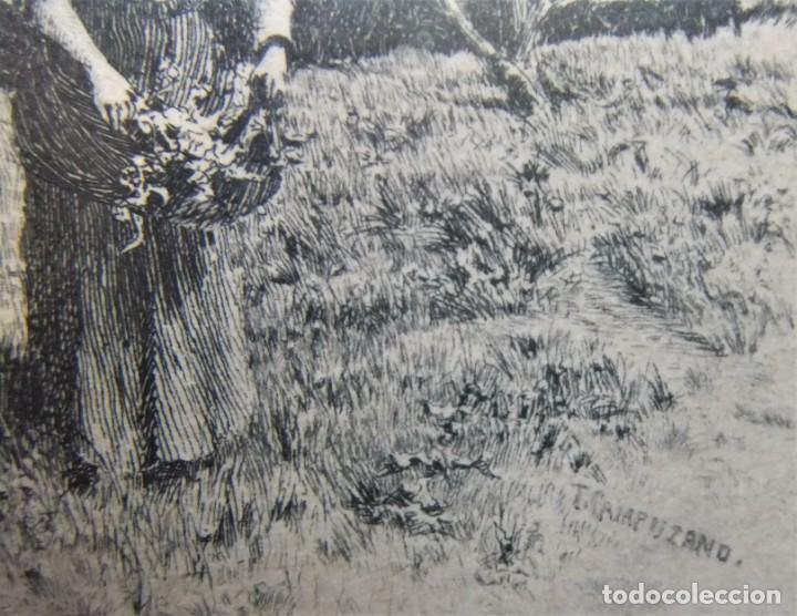 Arte: ANTIGUO GRABADO DE CAMPESINAS DE TOMÁS CAMPUZANO (1857-1934) - Foto 7 - 147826702