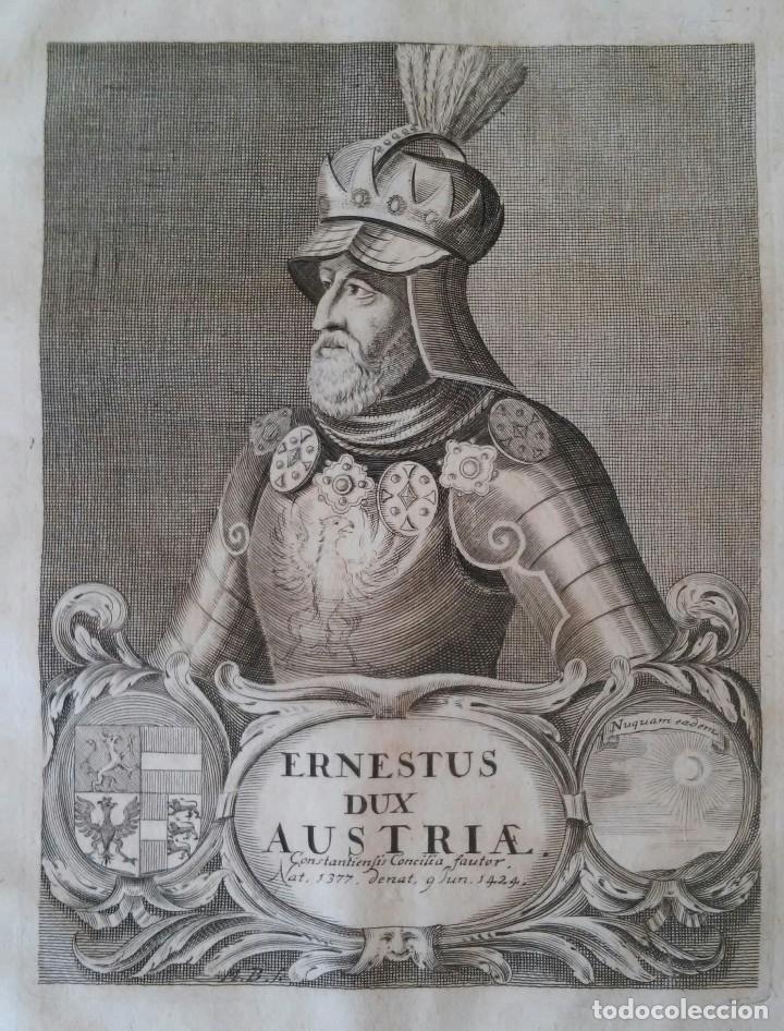 ERNESTUS DUX AUSTRIAE. GRABADO SIGLO XVII. AUSTRIA. HERÁLDICA. HABSBURGO (Arte - Grabados - Antiguos hasta el siglo XVIII)
