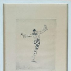 Arte: ARLEQUÍN. GRABADO SOBRE PAPEL. 53/100. FIRMA ILEGIBLE. SIGLO XX. . Lote 148010878