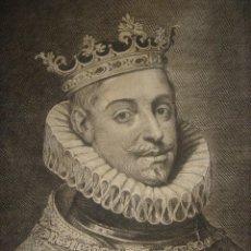 Arte: GRABADO AL COBRE DE FELIPE IV, ORIGINAL, PARÍS, 1770, BENOIST, BUEN ESTADO. Lote 148048754