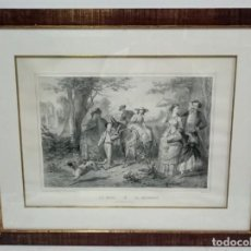 Arte: ANTIGUO GRABADO CON ESCENA ROMÁNTICA ENMARCADO. PIEZA ESPECIAL. Lote 148145474
