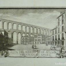 Arte: VISTA DEL ACUEDUCTO ROMANO DE SEGOVIA (ESPAÑA), 1757. JUAN MINGUET/VILLANUEVA. Lote 148227044