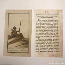 Arte: HOMBRE DE LAS ISLAS DE MANICOLA, UNA DE LAS NUEVAS HEBRIDAS 1790-1800 GRABADO ILUMINADO A MANO. Lote 148326838