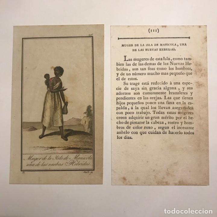MUJER DE LAS ISLAS DE MANICOLA, UNA DE LAS NUEVAS HEBRIDAS 1790-1800 GRABADO ILUMINADO A MANO (Arte - Grabados - Antiguos hasta el siglo XVIII)