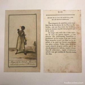 Mujer de las Islas de Manicola, una de las nuevas Hebridas 1790-1800 Grabado iluminado a mano