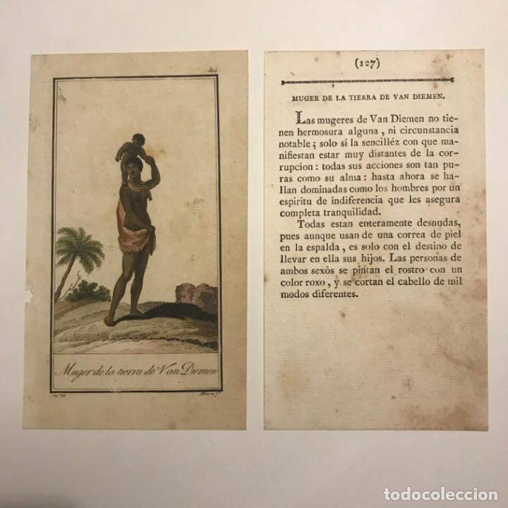 Mujer de la tierra de Van Diemen 1790-1800 Grabado iluminado a mano