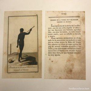 Hombre de la tierra de Van Diemen tirando al blanco 1790-1800 Grabado iluminado a mano