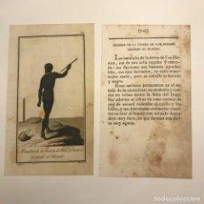 Arte: HOMBRE DE LA TIERRA DE VAN DIEMEN TIRANDO AL BLANCO 1790-1800 GRABADO ILUMINADO A MANO. Lote 148327618