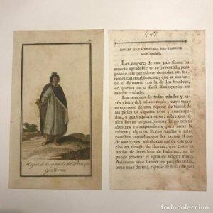 Mujer de la entrada del Príncipe Guillermo 1790-1800 Grabado iluminado a mano