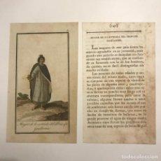 Arte: MUJER DE LA ENTRADA DEL PRÍNCIPE GUILLERMO 1790-1800 GRABADO ILUMINADO A MANO. Lote 148327778