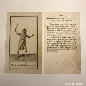 Isleño de Ulieta representado 1790-1800 Grabado iluminado a mano
