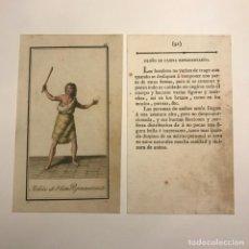 Arte: ISLEÑO DE ULIETA REPRESENTADO 1790-1800 GRABADO ILUMINADO A MANO. Lote 148327862