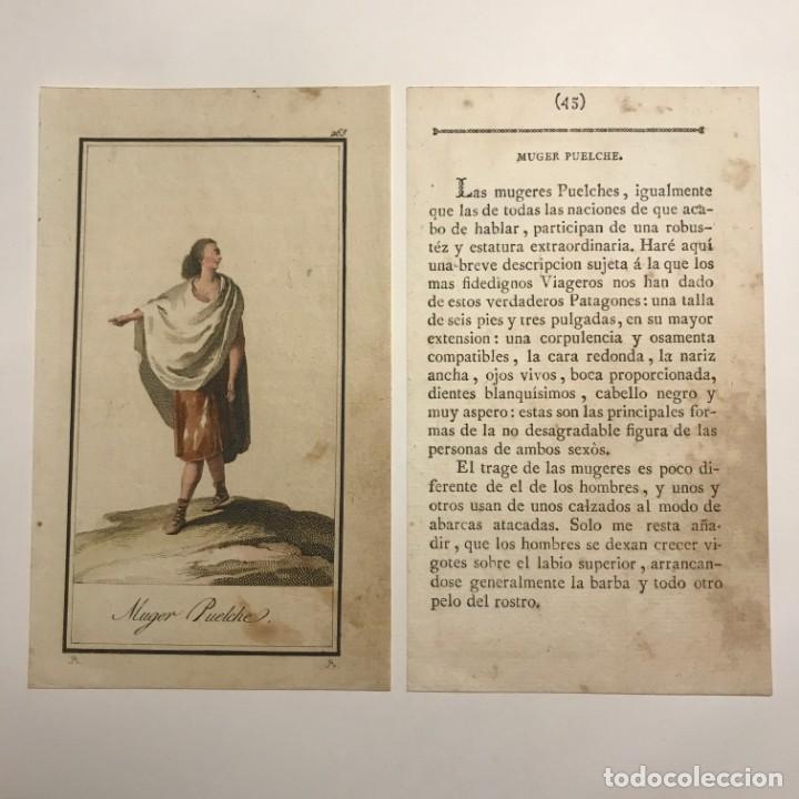 MUJER PUELCHE 1790-1800 GRABADO ILUMINADO A MANO (Arte - Grabados - Antiguos hasta el siglo XVIII)