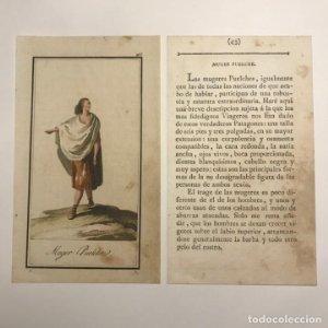 Mujer Puelche 1790-1800 Grabado iluminado a mano