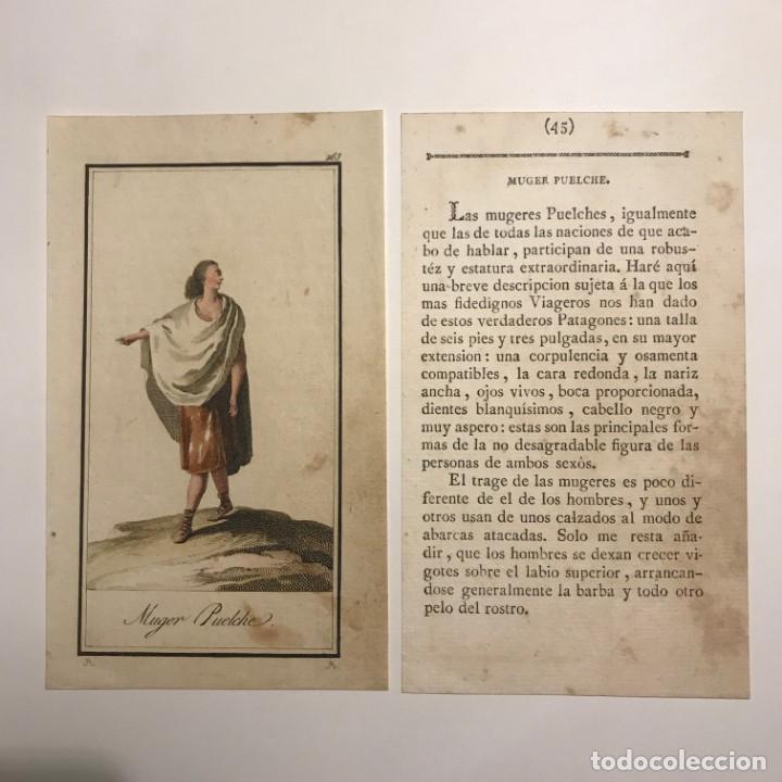 Arte: Mujer Puelche 1790-1800 Grabado iluminado a mano - Foto 2 - 148327982