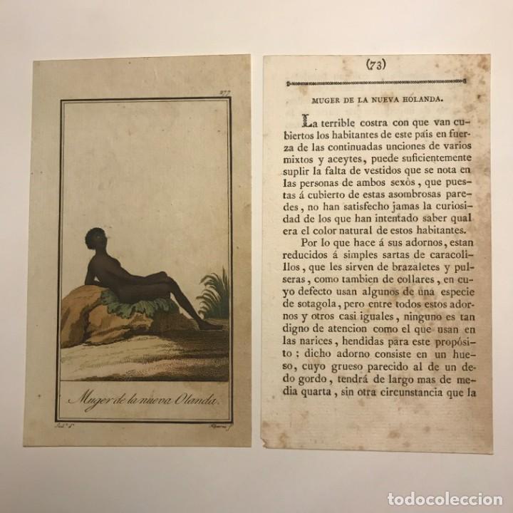 MUJER DE LA NUEVA HOLANDA 1790-1800 GRABADO ILUMINADO A MANO (Arte - Grabados - Antiguos hasta el siglo XVIII)