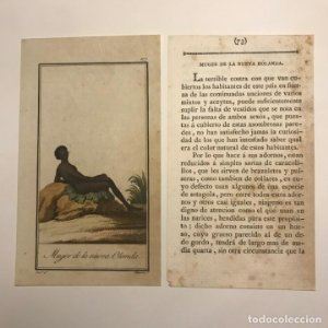 Mujer de la Nueva Holanda 1790-1800 Grabado iluminado a mano