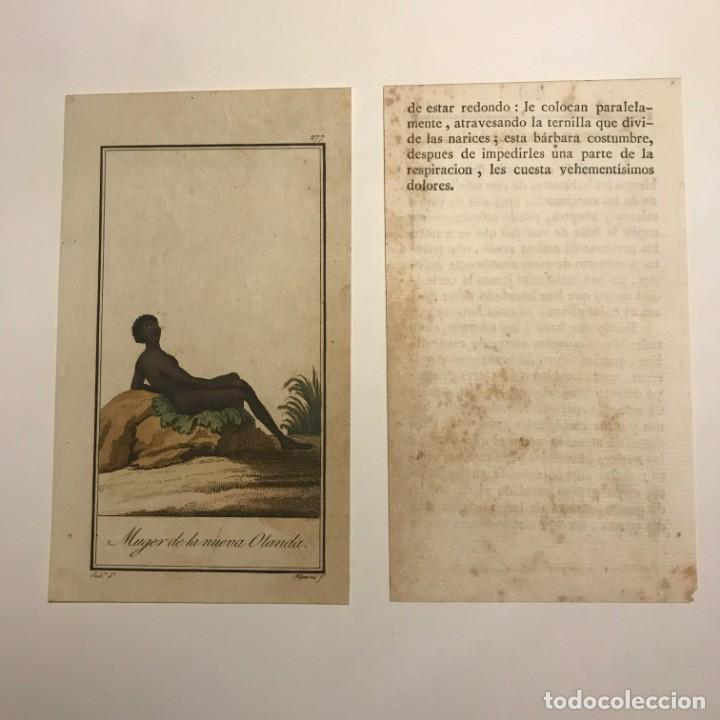 Arte: Mujer de la Nueva Holanda 1790-1800 Grabado iluminado a mano - Foto 2 - 148328226