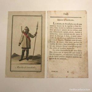 Hombre de Oonalaska 1790-1800 Grabado iluminado a mano